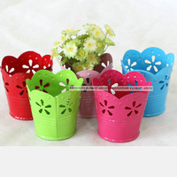 Modern European 10pcs Metal Wedding Home Decor 6CM Artificial Flower Pots Planter  Vase Colorful FL1492 decorativos