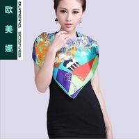 Oumeina Women's silk scarf Romantic Emerald   printed Butterflies 100% silk fabric   LJD-S027