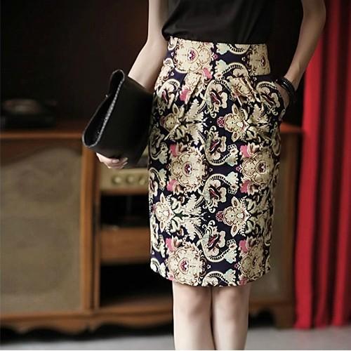 New 2014 Spring Autumn Skirts Womens Plus Size Floral Print Female Saia Fashion Knee-Length High Waist Pencil Skirt S-XXL(China (Mainland))