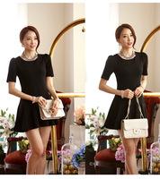 2014 summer new Women's Fashion Knit Dress Korean Version of Bubble-Sleeved Round Neck Slim Waist Pleated Dress.
