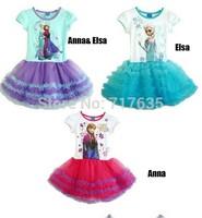 New 2014 Frozen Elsa&Anna Princess Party Dress Girl Print Dress Brand Tutu Dress Fantasia Vestido Clothing kids Summer 2-7age