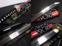 clay Tempered 1095 steel blade silver wave tsuba japanese katana sword sharpened
