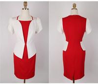 2014 summer new Fashion Women OL career Square Neck Slim Waist Hit Color Stitching Lotus Sleeve False two Dresses.