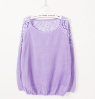 2014 Spring And Autumn New Hollow Lace Sweater Bottoming Solid Round Neck Sweater Women WMY01