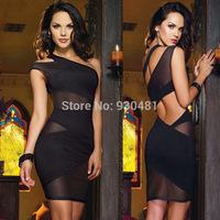 New 2014 Sexy Nightclub Bandage Dress Mini Clubwear Dress Summer Women's Party Evening Dress One Shoulder Black/Purple Dress