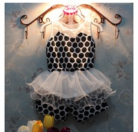 Fashion Celebrities Fei Girl New Style Summer Lace lovely Dots Kids Clothes Sets W30006