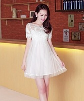 2014 best new style fashion women dress lace chiffton silk dress free shipping