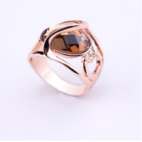 Fashion Jewelry 2014 Vintage Brown Austrian Crystals Anel ouro 18k gold ring for women WNR886