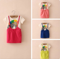 Summer Beautiful Color Zebra Pattern Children's Short-sleeved Cute Horse Girl Dress W30008
