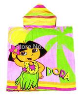 Plush dora cotton hooded towel child bath phi beach towel cartoon bathrobe dora