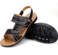 High Quakity 100% Genuine leather Men's Beach Sandals Shoes,2014 Summer Cool Comfortable Soft Men Slippers Flip Flops,38~44.