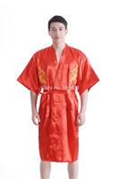 Free Shipping Mens Satin Red Robe Dragon Bathrobe Kimono Sleepwear Pajama Gown