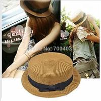 Free shipping 2014 New Arrive Summer Beach Hat Women Sun Cap Short Brim Bucket Hat Bow Visor Photography Prop Outfit 8colors