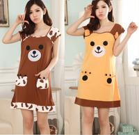 New summer 2014 women fashion women's casual dress gown nightgown short-sleeve cotton embroidered sleepwear cartoon bear lounge