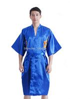 2014 New Mens Satin Robe Dragon Bathrobe Kimono Sleepwear Pajama Nightgown Blue