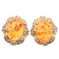 Unique Style Oval Amber Crystal Rhinestone Vintage Earrings