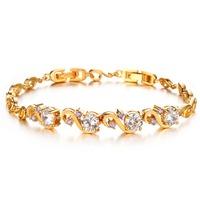 Rome  flash crystal zircon 18k gold plated bracelet bangle for women N409