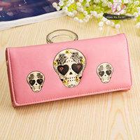 2014 new arrival fashion brand women wallet novelty skull women clutch wallet purse  card holder  phone bag free shipping