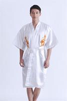 Free Shipping 2014 Mens Satin Robe Dragon Bathrobe Kimono Sleepwear Pajama Gown White