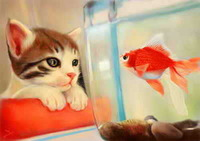 DIY stick painting painting cross stitch diamond drill animal series of cats and goldfish diamond embroidery