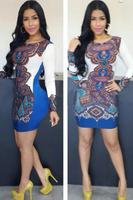 New 2014 Women Winter O-neck Long Sleeve Royal Blue Ethnic Print Sexy Mini Dress Cheap price Free Shipping