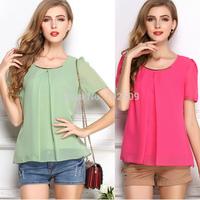 S-XXXL 9 Colors Fashion Short Sleeve Chiffon Blouses Women 2015 Summer New Large size Slim Lady Tees Shirts Tops free shipping