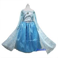 Girls Deluxe Elsa Princess Costume Polka Dots Cape Blue Party Dress 2-10Y