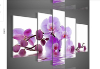 hand-painted oil wall art Purple flowers water side home decoration abstract Landscape oil painting on canvas 5pcs/set DY-0023