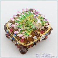 100% handmade enamel technology peacock shape jewelry box manufacturer wholesales free shipping