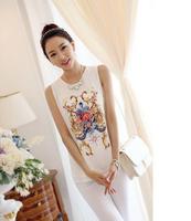 2014 summer new Korean female fashion vest Floral Chiffon Sleeveless T-Shirt Large Size SML XL XXL XXXL
