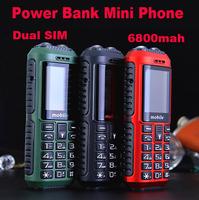 2014 New Power Bank Phone 6800mah Dual Sim Cards Mini Waterproof Outdoor Mobile Flashlight  Phone Free Shipping