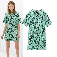 2014 New European Style Summer fashion women's clothing green leaf print round collar short sleeve female leisure dress,WD0127