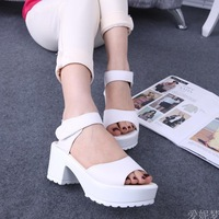 2014 summer new large base sponge white waterproof PU high-heeled shoes thick with sandals Lady sandals  womens sandals