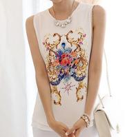 2014 summer new Korean female fashion vest Floral Chiffon Sleeveless T-Shirt Large Size SML XL XXL