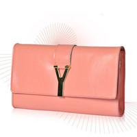 New 2014 Fashion Neon Letter Buckle Genuine Leather Women Handbag Clutch Purses Chain Envelope Magazine Women Evening Clutch Bag