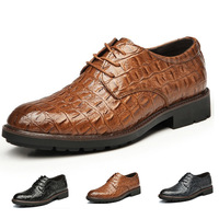 2014 breathable men's shoes crocodile pattern genuine leather oxfords comfortable business man dress shoes