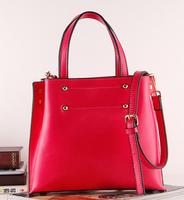New collection 2014 korean genuine leather handbag fashion shoulder bag simple vertical section candy-colored bag