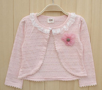 New Arrival 2014 Cute Baby Girl long Sleeve lace Shawl Coat Kids Fashion Cotton Cardigan Children Outwear summer Spring Autumn