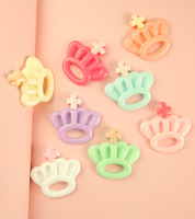 Free shipping 30*31mm cute crown resin flatback Cabochon for DIY deco, Wholesale 30pcs/lot mix colors