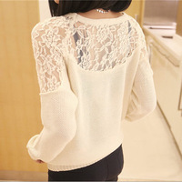 NEW Spring / summer Sweater 2014 women fashion clothes cardigan Sexy lace hollow out sweater Free Shipping YF0340