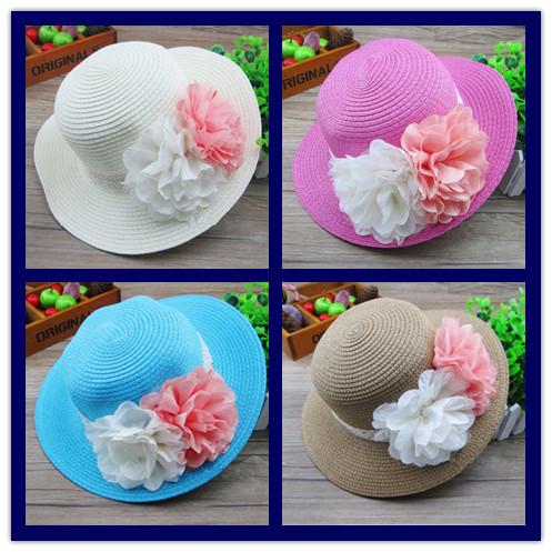 New hot Hats Children's Fashion Accessory Girl's Straw Caps Baby's sun block hats Kid's sun caps Kids Fashion Hat Girls new Cap(China (Mainland))