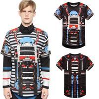 Summer 2014 men t-shirts famouse brand designer machine 3d print men hip pop short sleeve casual t shirt drop shipping Nora05167