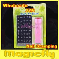 [YHTL-001] 40XDIY Nail Art Stamping Set Stamping Nail Art Kit Nail 2 in1 Stamp + Scraper and Square Image Plate + Free Shipping