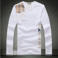 British Style Men's O- Neck Long Sleeve Plaid Splice Cotton T-shirts   Male Embroidery T Shirt Slim Fit  Men Plus Size XXXL .4XL