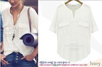 happy SZ  women's fashion summer short-sleeve V-neck 100% cotton modal T-shirt basic t shirt summer J-06