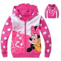 New 2014 baby girls hoody cartoon minnie mouse jacket coats 2-8yrs girl outwear baby&kids autumn clothes wear girls jacket 9201