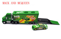 Free Shipping Pixar Car 2 Metal and plastic Mack Hauler truck and #95 Small Car Toy Set GREEN