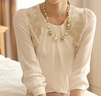Korean Style Elegant Office Style White Lace Long Sleeve Chiffon Shirts For Women New 2014 Spring Fashion Tops Women Basic Top