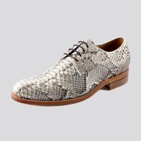 Goodyear handmade white python skin men's pointed toe snakeskin leather male business formal casual shoes