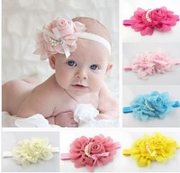 1 pcs/lot 16 colors pick Baby Child Hair Accessories Pearl Rose Flower Headwear Stretchy Hair Band Headband FD054